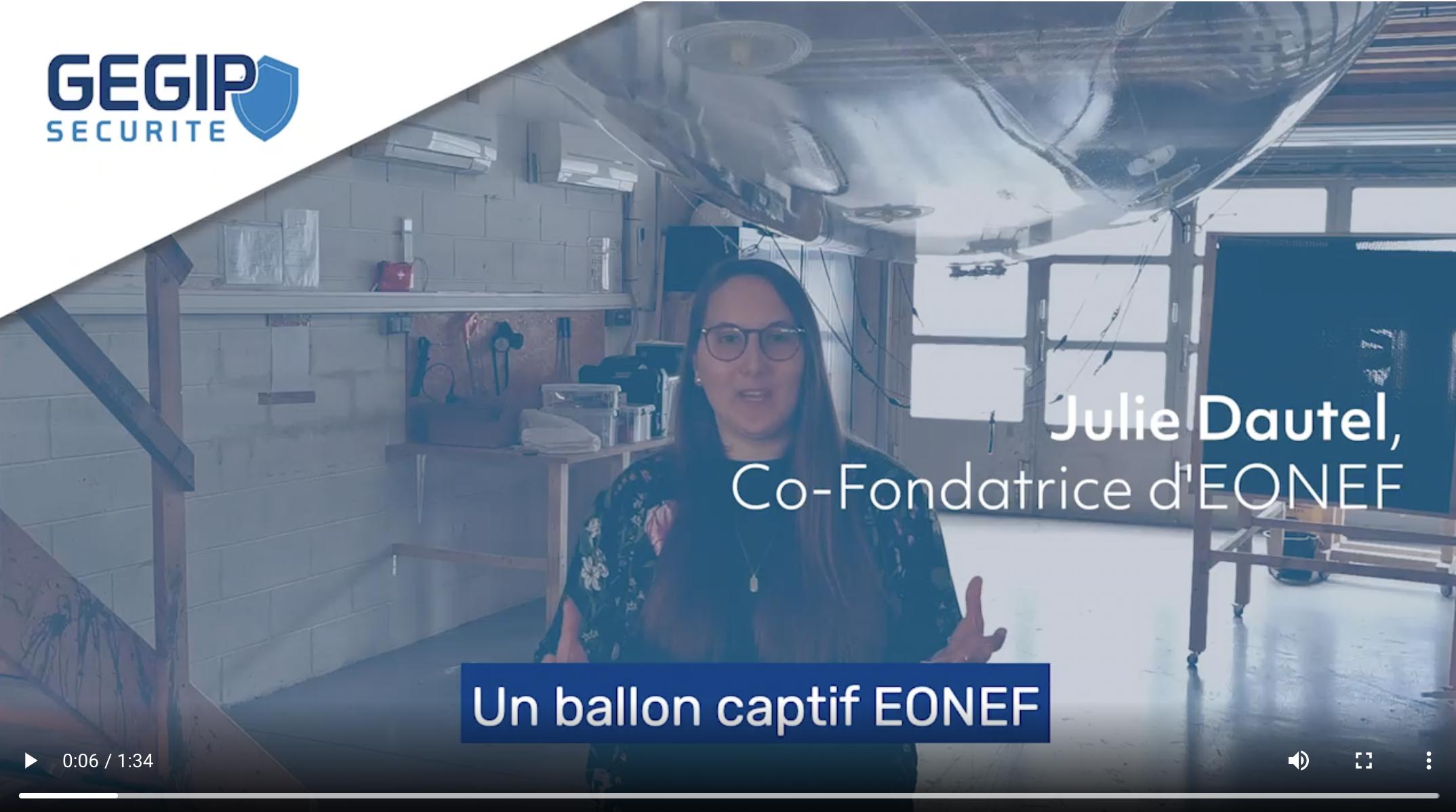 Julie Dautel, co-fondatrice d'EONEF présente les avantages du ballon caméra développé par GEGIP